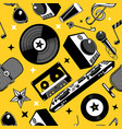 retro music seamless pattern with vinyl disc and vector image