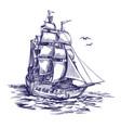 retro old ship vintage hand drawn vector image vector image