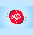 round discount tag with 50 percents off text vector image vector image
