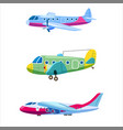 set airplanes aircraft different colour retro vector image
