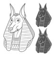 set of black and white images with anubis vector image vector image