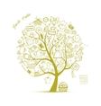 Sewing tree sketch for your design vector image
