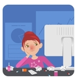 Sick lady in the office vector image