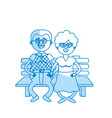silhouette old couple in the chair with hairstyle vector image vector image