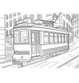 sketch of the lisbon tram vector image