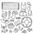 summer doodle set black elements on white vector image
