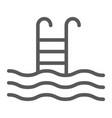 swimming pool line icon diving and underwater vector image vector image