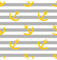 tile sailor pattern with yellow anchor on grey vector image vector image