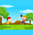 two boys playing baseball in park vector image vector image
