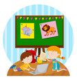 two kids studying in classroom vector image vector image