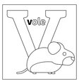 Vole letter V coloring page vector image vector image