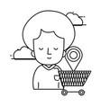 woman shopping online cartoon vector image
