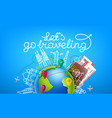 world travel color with calligraphic logo design vector image vector image
