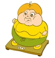 Plump Woman on Weighing Scale vector image