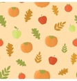 Seamless background with pumpkins and leaves vector image