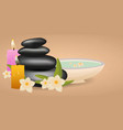 spa salon banner with stones thai massage wood vector image