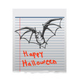 bat doddle character on paper vector image vector image