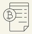 blockchain contract thin line icon bitcoin vector image