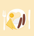 breakfast plate with sausage sandwich and egg vector image vector image