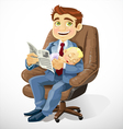 Business dad with sleep baby in an office chair vector image vector image