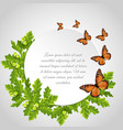 butterflies round frame vector image vector image