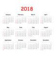 calendar 2018 year in simple style calendar vector image
