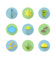 cartoon garden pond icons with water vector image vector image