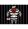 cartoon prisoner behind bars in prison vector image vector image