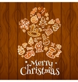 Christmas gingerbread man on wooden background vector image vector image