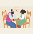 cute couple siting in a cafe vector image vector image