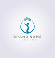 design a circle logo with leaves on it and people vector image