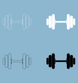 dumbbell the black and white color icon vector image