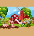 farm scene with animals vector image