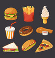 fast food in cartoon style pictures vector image vector image