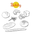 Fresh pastries crisp bread isolated vector image