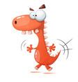 funny cute crazy dinosaur vector image vector image