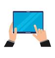 hands holding tablet computer gadget vector image vector image
