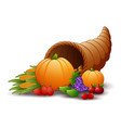 horn of plenty cornucopia with fruits and pumpkins vector image vector image