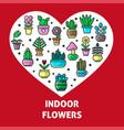indoor flowers and house garden plants heart vector image vector image