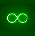 infinity neon symbol on green background vector image vector image