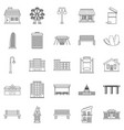 interesting places icons set outline style vector image