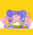 mother feeding little baflat poster vector image vector image