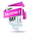 Origami banners Happy Valentines Day vector image