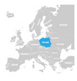 poland marked by blue in grey political map of vector image vector image