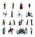 Police People Flat Color Icons Set vector image vector image