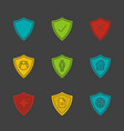 protection shields glyph color icon set vector image