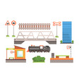 rail transport set railway station road signs vector image vector image