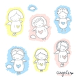 Set of cute sketch angels vector image vector image