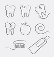Set of line icons dental care in whimsy style