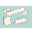 Set of old vintage ribbon banners in engraving vector image vector image